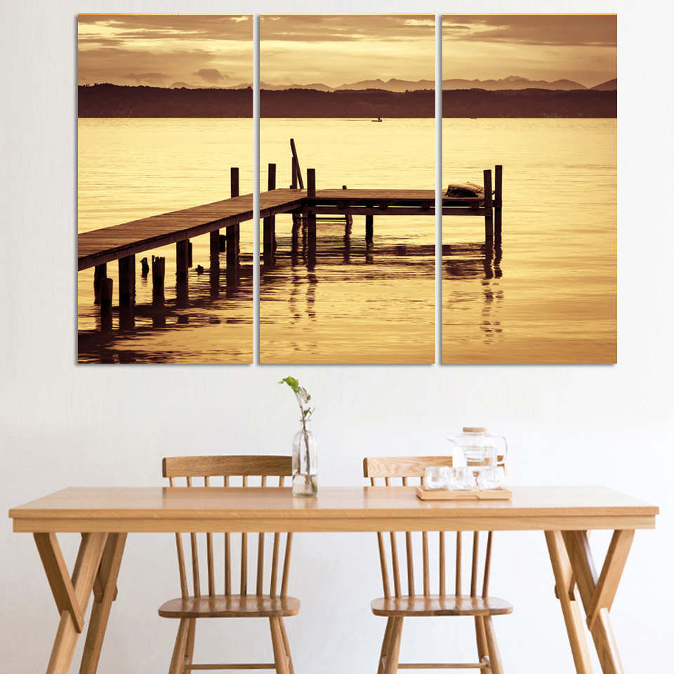 Unframed 3 Piece The Yellow Sea And setting sun Modern Home Wall ...