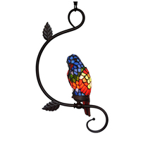 American Rustic Rural Retro Novelty Stained Glass Bird Parrot Home Art Deco LED Hanging Pendant Lamp Light Restaurant Cafe Bar