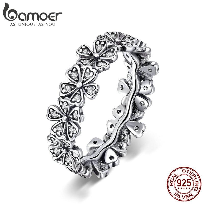 BAMOER Trendy New 100 925 Sterling Silver Stackable Daisy Flower Finger Rings for Women Sterling Silver Innrech Market.com