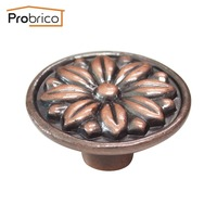 Probrico 10PCS PS7231AC Zinc Alloy Antique Brass Kitchen Cabinet Handle Vintage Flower Round Furniture Drawer Knob