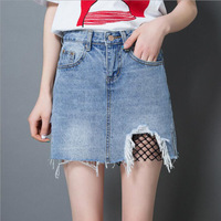 A Line Skirt Summer New Style Denim Skirt Women Old Fishnet Stitching Hole Size All Match