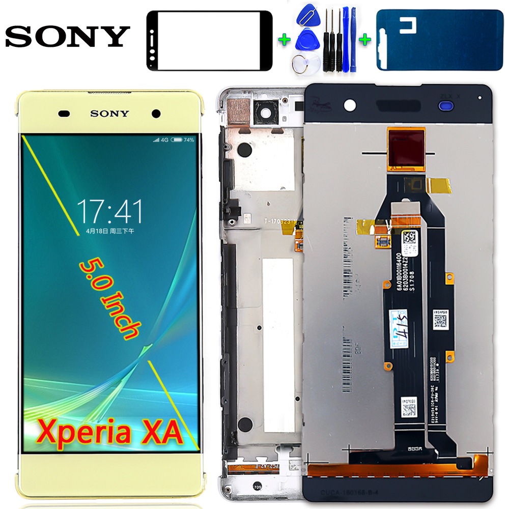 SONY Xperia XA 5.0 inch LCD Display F3111 F3112 F3115 F3116 Touch Screen Digitizer 1280*720 Assembly Frame Free Tools Glassfilm