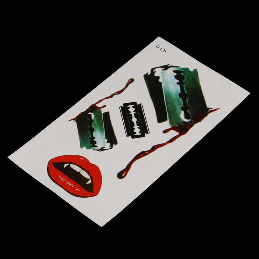 HAICAR جديد الأزياء 1 مجموعة هالوين الوشم ملصق شفرة حلاقة الدم الأحمر الشفاه نمط ملصقات قطرة الشحن 70825