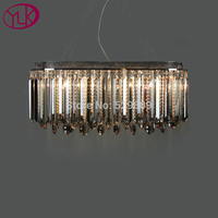 Free Shipping Rectangle Design Smoky Gray Crystal Chandelier Luster Dining Room Bar Lighting L75 W35 H100cm