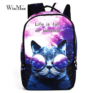 Winmax Female fashion dog cat pringting Bags Teenager Schoolbag Women School Backbpack For Girls Boys Escolar Mochila Masculina