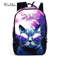 Winmax Female fashion dog cat pringting Bags Teenager Schoolbag Women School Backbpack For Girls Boys Escolar Mochila Masculina