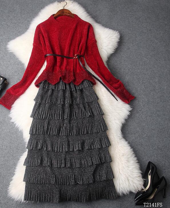 Color Nouveautés À Pour photo Femmes Color Jupe Européen Tricoter 2018 T2141 Costume Patchwork Photo Automne Chemisier Décontracté Hiver Mode Vêtements Style ExRqgCFwn