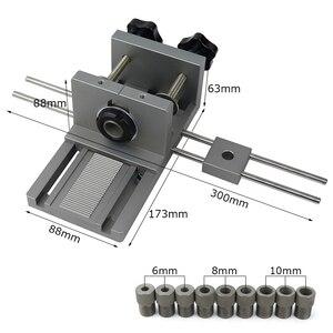 Image 2 - Localizador profesional de punzón de carpintería Plantilla de espigas de madera guía de perforación ajustable para muebles DIY herramientas de posición de conexión
