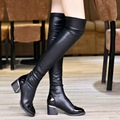 2017 Fashion PU Leather Over Knee Boots Women Sequined Toe Elastic Stretch Thick Heel Thigh High Riding Boots Big Size 40