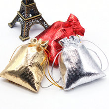10pcs 6.5x8.5cm  Gold and silver cloth bag drawstring Christmas Gift Packaging Bags Wedding Candy Box Chocolate