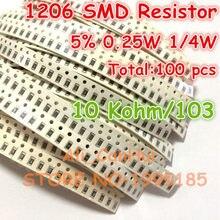 100 unids/lote 1206, 5% 10 Kohm 10 K 103 1/4W 0,25 W SMD resistencia de 3,2*1,6mm