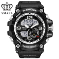 SMAEL Brand Mens Sport Quartz Big Dial Alarm Stopwatch Luminous Back Light Repeater Date Army Strap LCD Wrist Watch / WCH0041