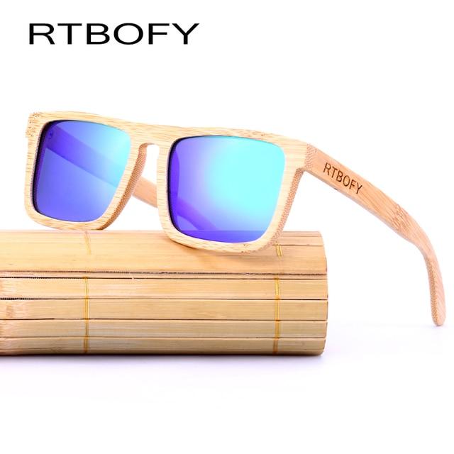 RTBOFY Bois lunettes de Soleil Hommes Bambou Lunettes De Soleil polarisées  Marque Designer Miroir D  ced5fe0dda0f