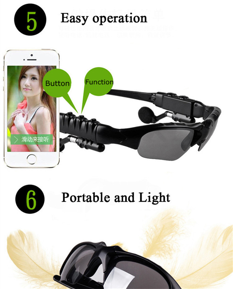 Bluetooth Sunglasses Outdoor Smart Sun Glasses Wireless Headset with Microphone for Smart Phones black normal 17