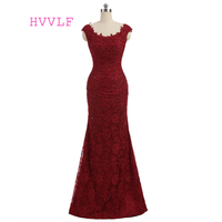 Burgundy Evening Dresses 2017 Mermaid Scoop Cap Sleeves Applique Lace Beaded Women Sexy Long Evening Gown