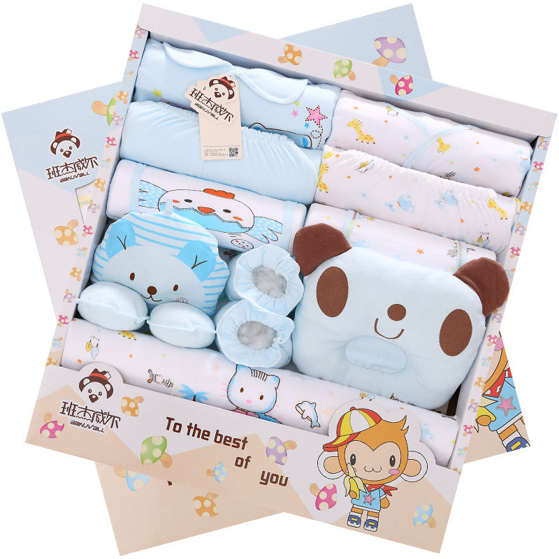 newbron Baby Clothes set Newborn Boys Girls Soft Underwear cartoon Cotton clothing suit 17pc baby clothing set sjkxh