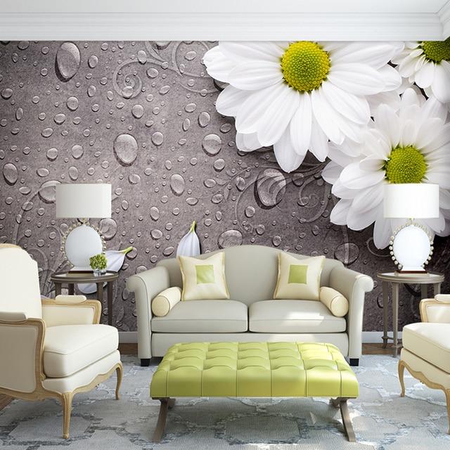 Custom 3D Foto Behang Slaapkamer Voor Muren Wit Waterdruppels Bloem ...