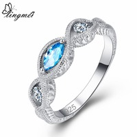 lingmei Wholesale Engagement Marquise Cut Rainbow & Blue & Red & White Cubic Zircon Silver Fashion Ring Size 6 7 8 9 Wedding
