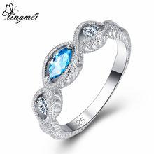 Женское кольцо с фианитом lingmei обручальное серебряного цвета