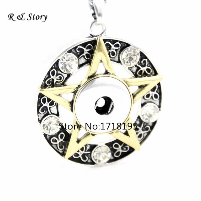 Free shipping fashion golden rhinestone star 18mm snaps snap buttons free shipping fashion golden rhinestone star 18mm snaps snap buttons interchangeable pendants necklaces for men jewelry aloadofball Images