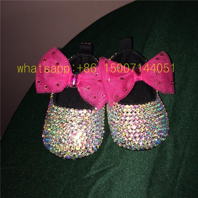 Dollbling AB color de cristal Deslumbrante Brillante DIY personalizado Fabuloso bebé Bautizo diamond luxury lolita 0-1 zapatos infantiles