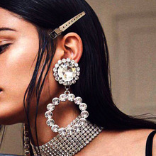 Luxury Large Crystal Hoop Earrings For Women shiny big rhinestones Round Drop statement earring Fashion Jewelry Gift