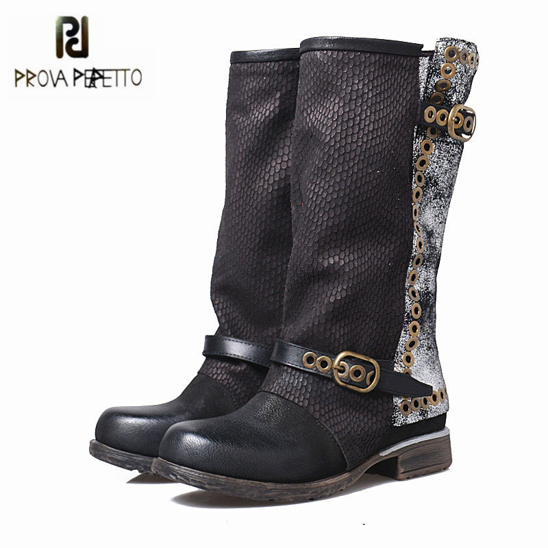 Prova Perfetto Black Genuine Leather Women Mid-calf Boots Retro Autumn Winter Flat Boots Rivets Platform Rubber Botas Militares double buckle cross straps mid calf boots
