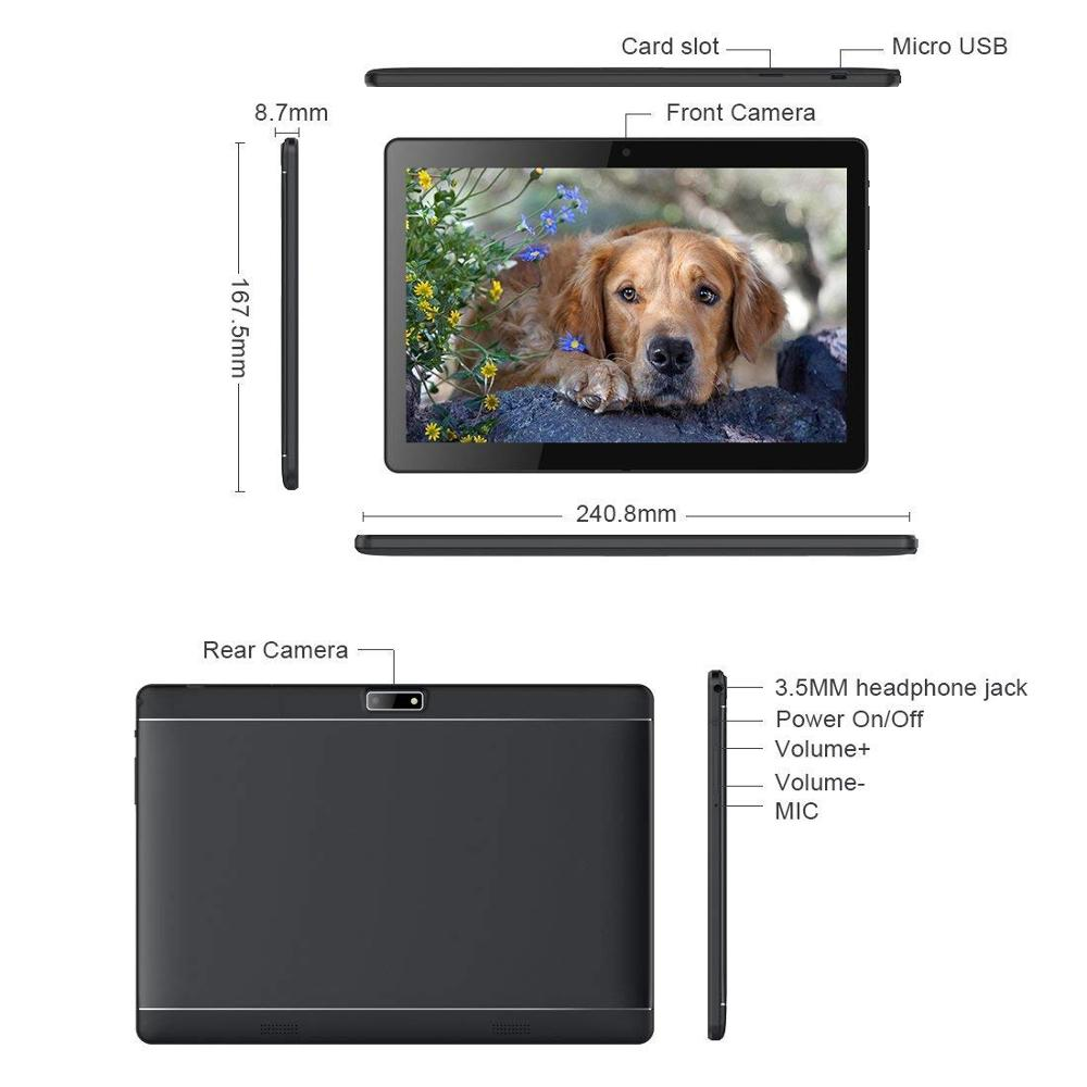 10.1 pouces tablette Pc Android tablette 1280*800 IPS 4 GB + 64 GB double SIM 3G tablette Quad Core Android 8.0 Bluetooth WiFi tablettes 10 - 5
