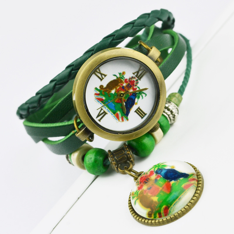 I Love Canada!!! Best Selling Women Leather Bracelet Watch Women Dress Watches Pendant Vintage Quartz Analog WristWatch No.288