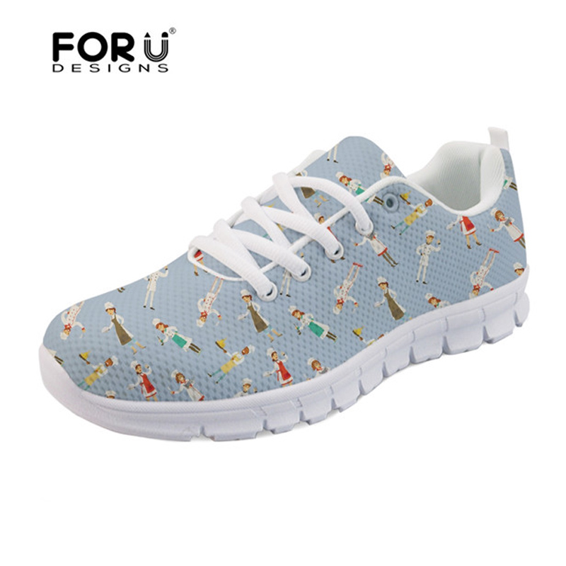 FORUDESIGNS Spring Summer Casual Women Sneakers Cute Happy Chef Pattern Flats Shoes Woman Fashion Cartoon Mesh Shoes Women Flat instantarts cute cartoon pediatrics doctor print summer mesh sneakers women casual flats super light walking female flat shoes