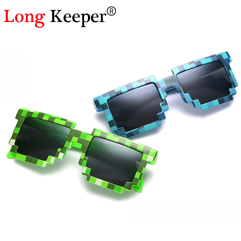Long Keeper Sun Glasses Hot Sale Sunglasses Glasses Creeper Novelty Mosaic Goggles 3-14 Years Boys Girls Pixel Eyeware