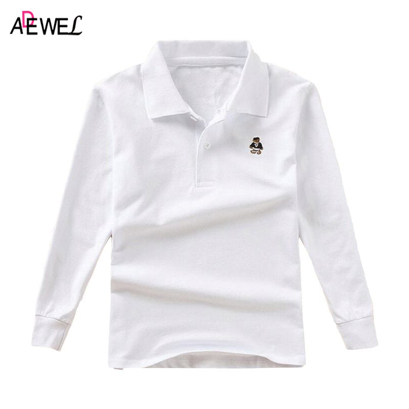 ADEWEL Kids Long-sleeved Polo Shirt Solid Spring Autumn 2018 Child Top Clothes Teen Boys Little Girls Cotton School Polos Shirts children s polo shirts 2018 spring autumn long sleeve striped kids boys cotton lapel polo shirt for child 2 15 years boy clothes
