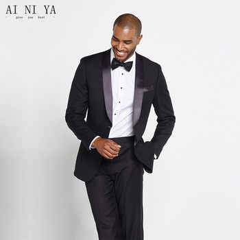 men suits tuxedo black with shiny black stain collar wedding groom tuxedos wear custom made suit