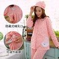 As mulheres grávidas mulheres grávidas pijama de algodão pijamas de inverno tamanho grande serviço de enfermagem da maternidade maternidade