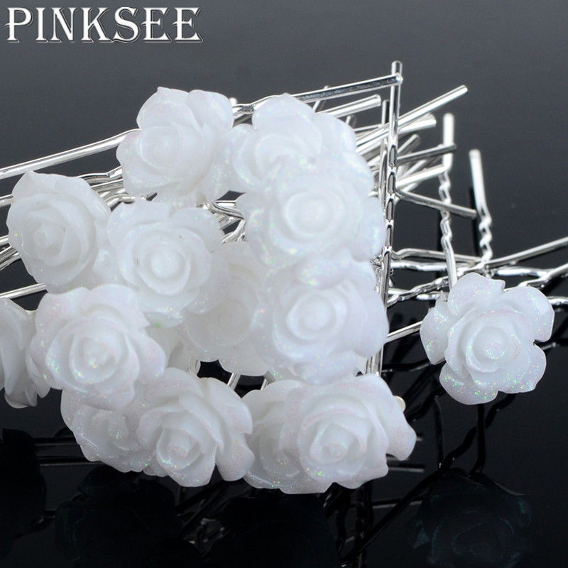 Pinksee 20pcs wedding hair accessories white flower hair pins hair pinksee 20pcs wedding hair accessories white flower hair pins hair clip for women headwear ornaments wholesale in hair jewelry from jewelry accessories on mightylinksfo