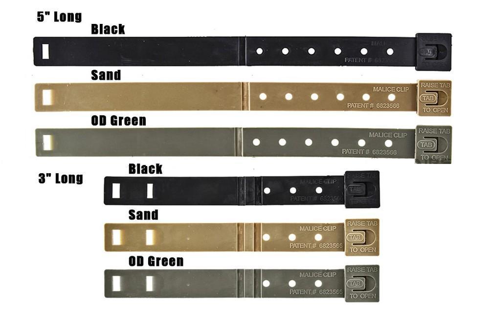 Malice Clip For MOLLE System 5 Long 4 Packs Each Pair 8231 For Helmet Black OD SAND