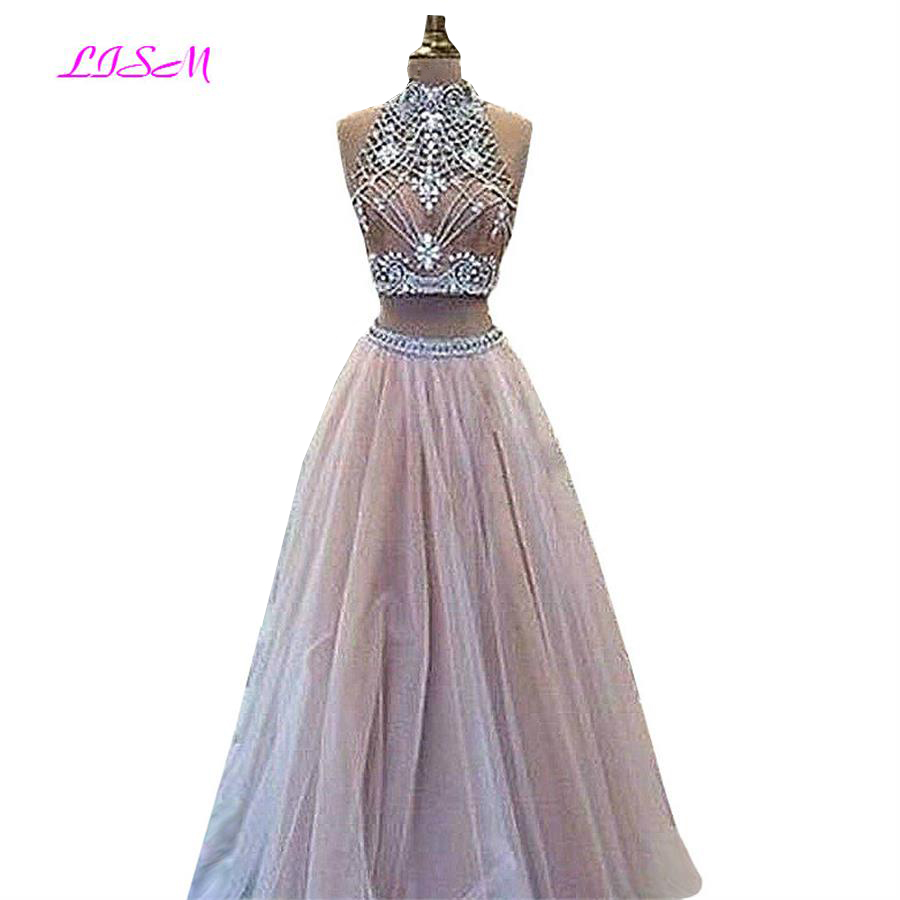 LISM Two Pieces Crystals Long   Prom     Dresses   High Neck Beading Pageant Formal Party   Dress   Sweet Tulle Bridesmaid Gowns for Wedding