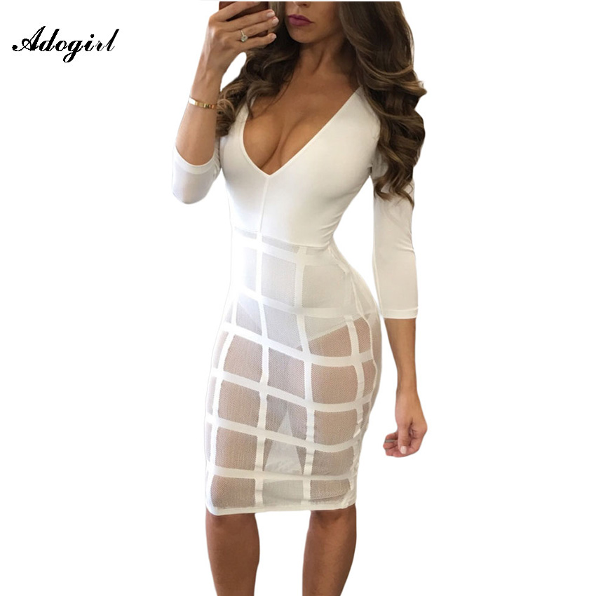 Adogirl 2017 Autumn Winter Dress White Caged Long Sleeve Bodysuit Tops Lady Sheer Mesh Dress Women Sexy Bodycon Party Club Dress