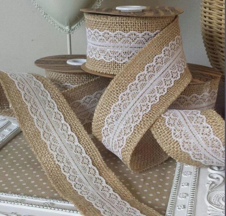 2M Natural Jute Burlap Hessian Ribbon with Lace Trims Wedding Party Decor M33D65