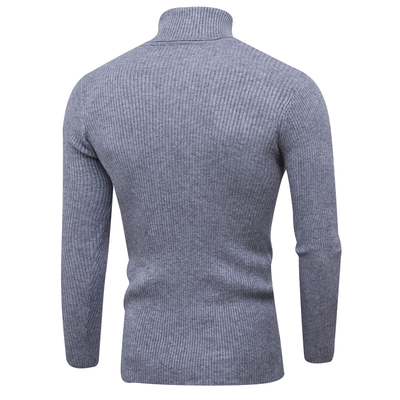 2018 autumn and winter new fashion handsome sleeve vertical solid color can turn high collar base basic casual sweater