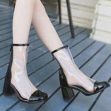 1a87d735ae Botas Mulheres Sapatos de Salto Alto em PVC Transparente Moda Tornozelo  Botas de Salto Grosso Dedo Do Pé Quadrado Fenty Beleza Z..
