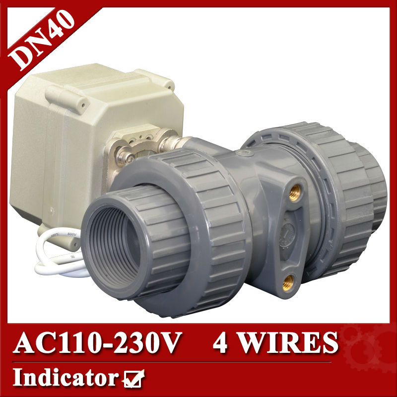 1 1/2 AC110-230V plastic motorized ball valve, 4 wires(CR401) electric ball valve,DN40 UPVC ball valve power off return tf25 b2 b 2 way dn25 full port power off return valve ac dc9 24v 2 wires normal open valve with manual override