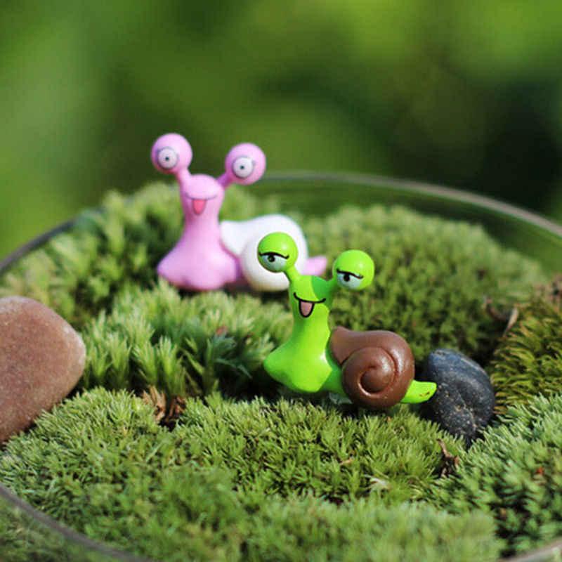 Mini escargots fée Jardin Miniatures Figurines Jardin Terrarium décor maison bonsaï ornements mousse Micro paysage couleur aléatoire