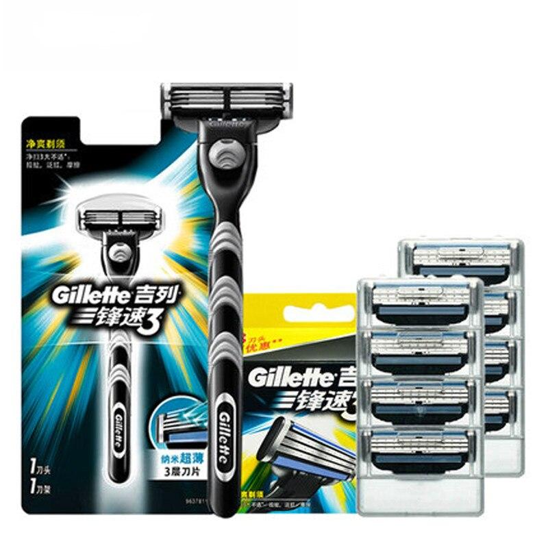 Original gillette mach 3 lâminas de barbear mach3 marca para homens barba lâmina barbear caso viagem barbear e remoção do cabelo