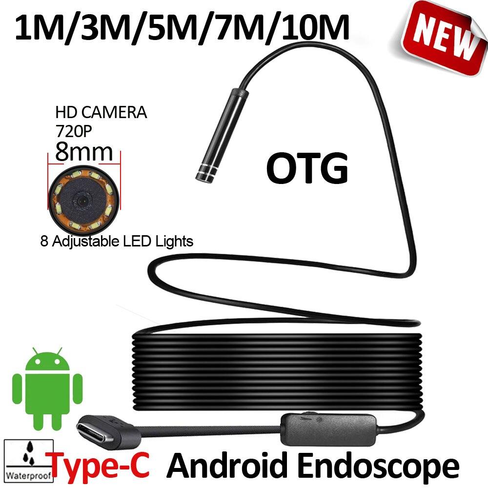 8mm OD 2MP 8LED 10 M 7 M 5 M 3 M 1 M Android USB Type C Endoscope Caméra Flexible Câblé Dur Câble Véhicule Tuyau D'inspection caméra