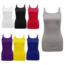 Summer New Fashion Ladies Round Tank Tops Female Cotton Blending Casual Camisole Spaghetti Straps Vest Tops Multicolor