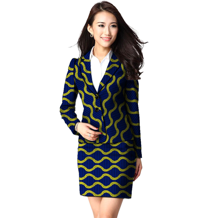 African Clothing Women Print Suits Blazer With Skirt Ankara Fashion Skirt Suits Customized Wedding Wear Female Formal Outfits