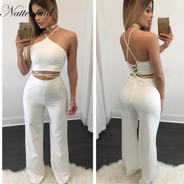 d313fe2b2185 NATTEMAID Popular 2 pieces Set White Women Rompers Off the Shoulder Halter High  Waist Elegant Jumpsuit Long Club Playsuit Black