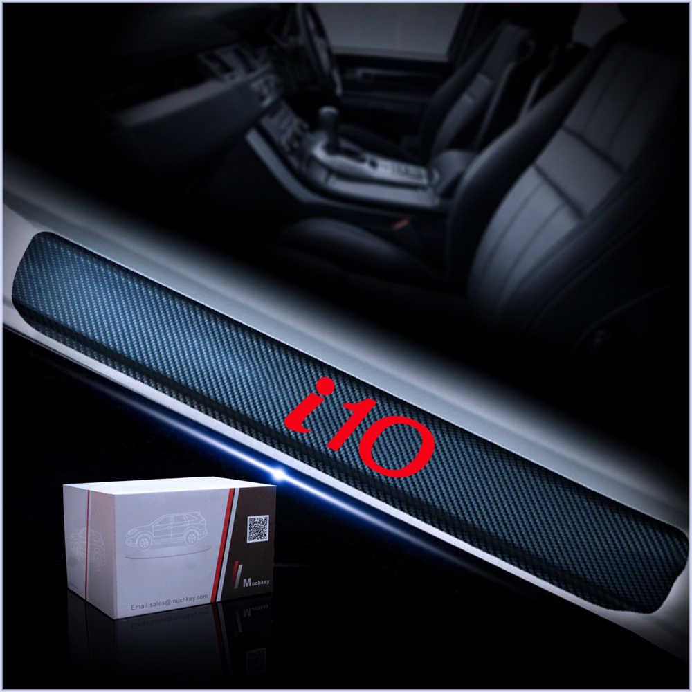 yingpuchuang Carbon Fiber Car Door Sill Protector For Hyundai i10 Scuff Plate Sticker Anti-Scratch Guard 4Pcs Blue