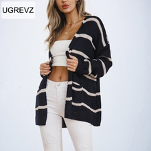 White Striped Knitted Cardigan